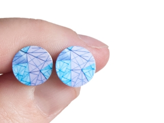 Shop Melbourne inspired earrings - Geometric patterned blue fed square studs