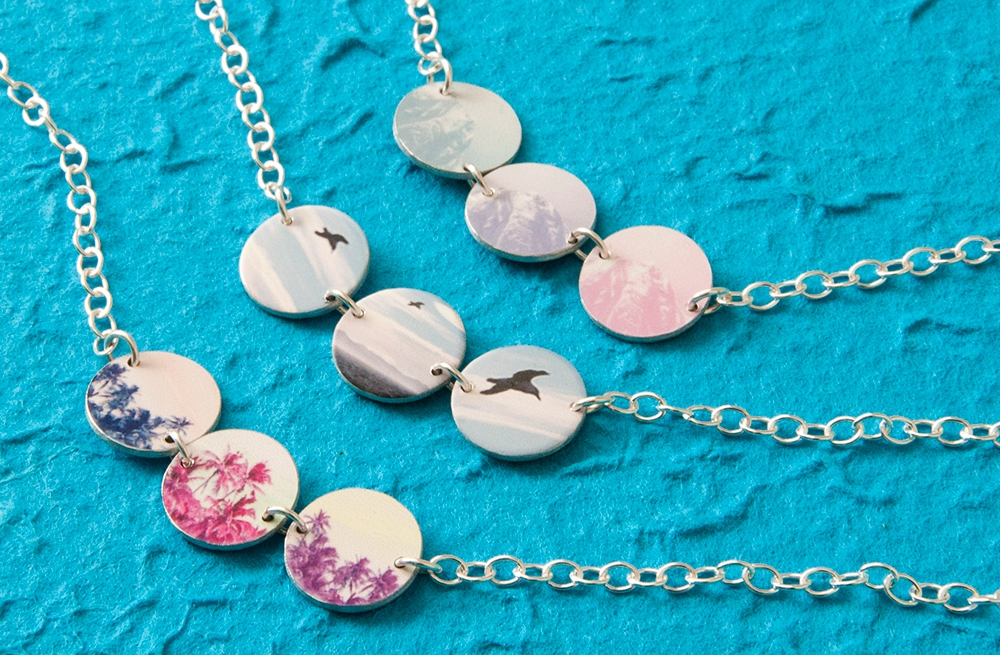 Reversible 3 piece Necklaces with sterling silver chain