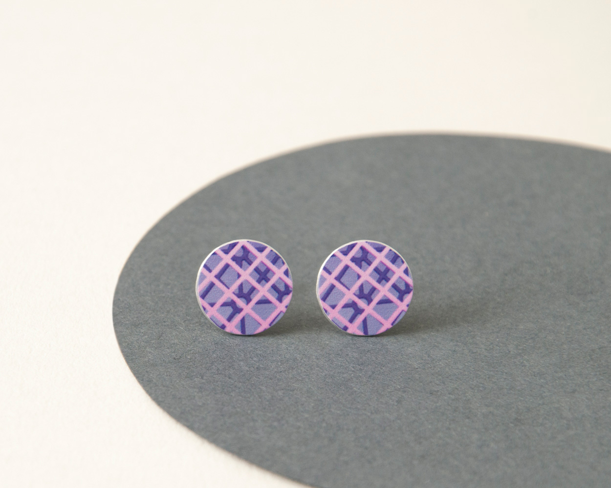 Purple and Pink stud earrings