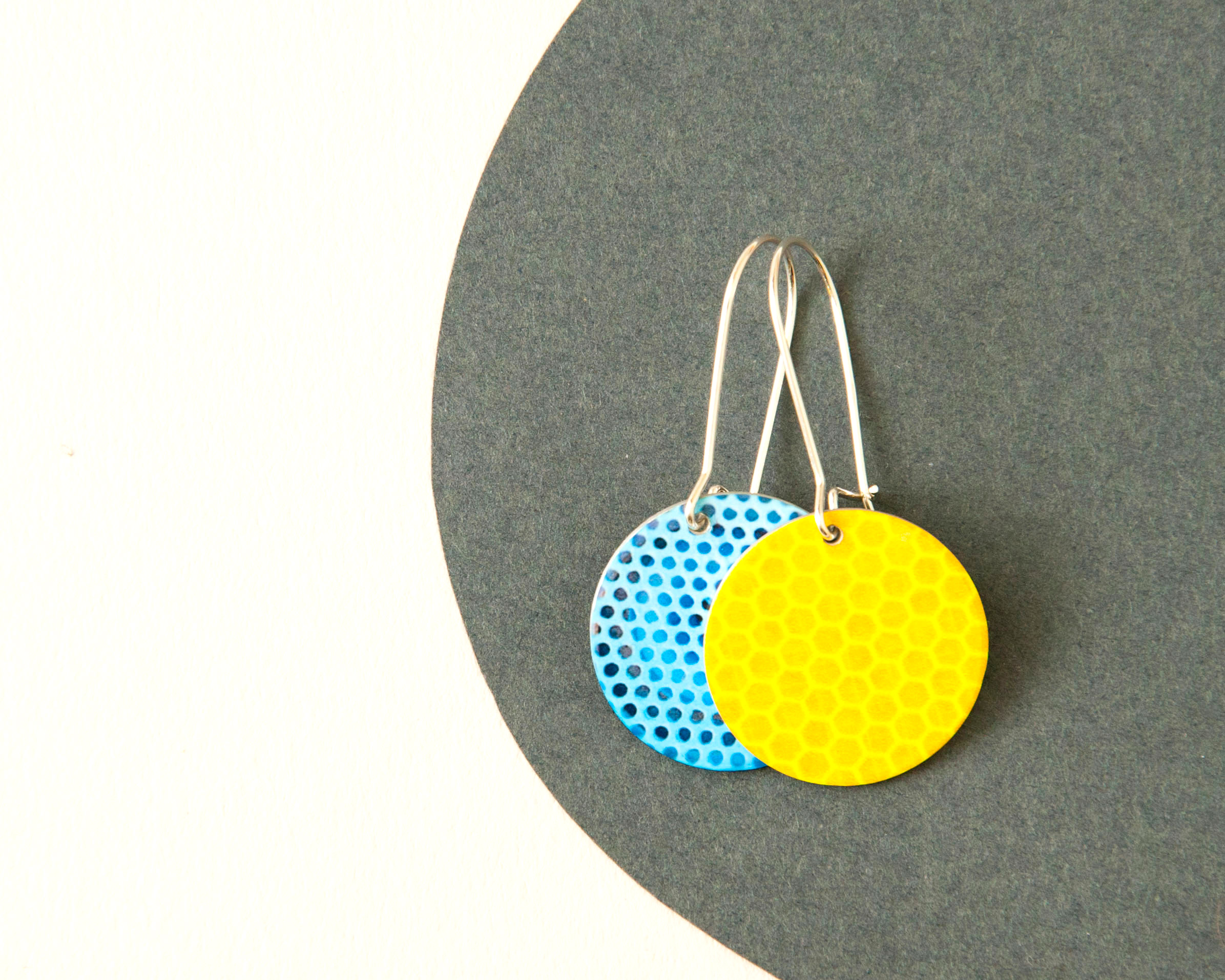 Light blue reversible earrings