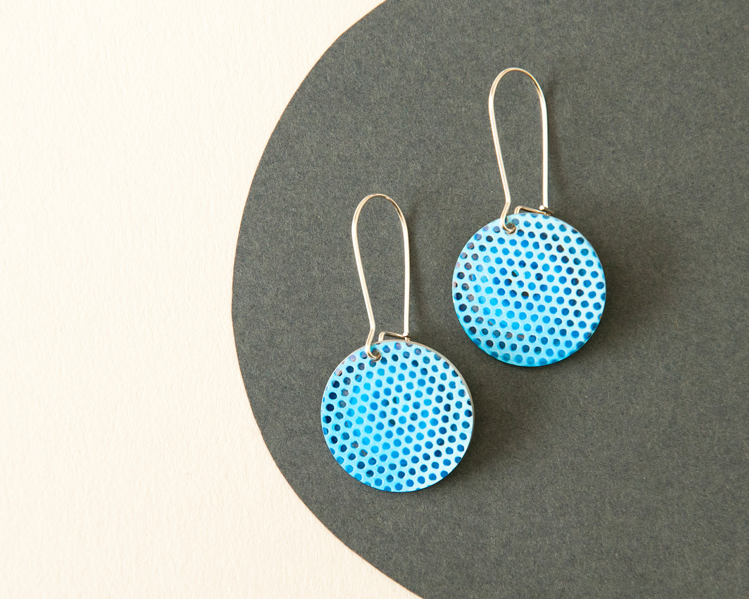 Light blue double sided earrings