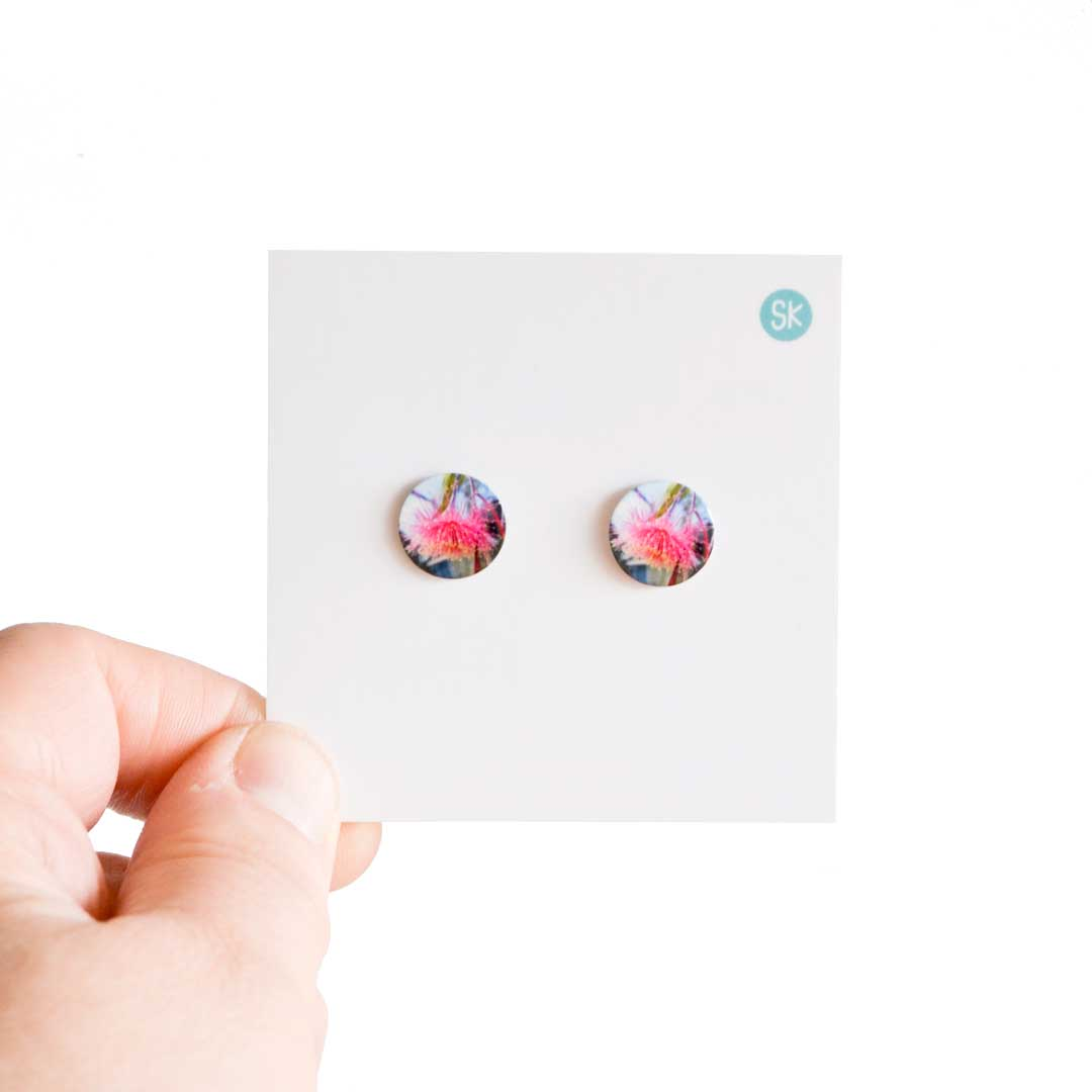 Gum tree flower stud earrings