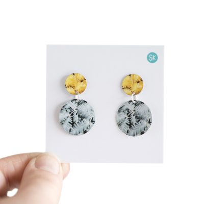 Wattle tree flower double dangle - Australiana inspired earrings