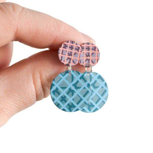 aqua magenta dangle earrings