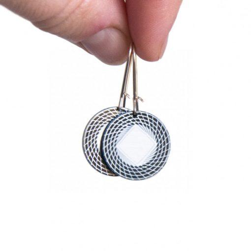 Handmade silver pattern dangle earrings